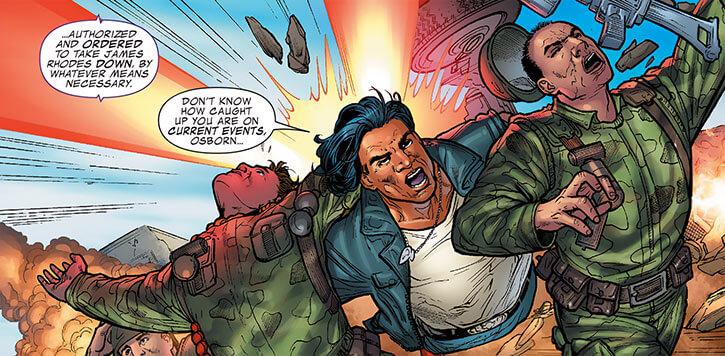 American Eagle (Marvel Comics) saving soldiers explosion