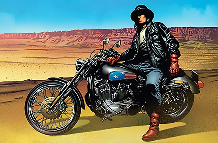 American Eagle on his bike in the desert