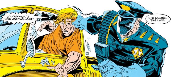 Americop (Captain America) (Marvel Comics) arresting a chav
