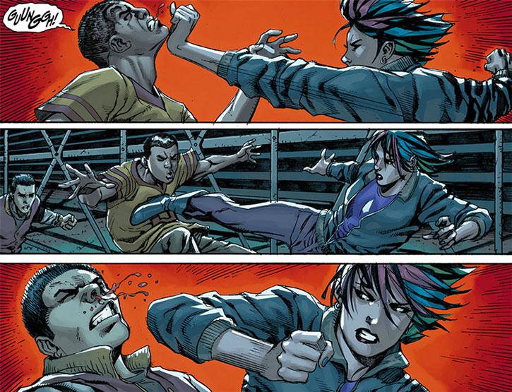 Amy Winston fighting off bullies