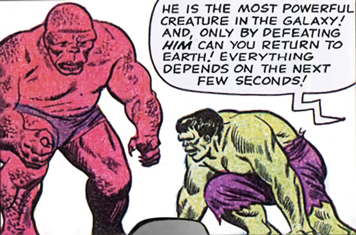 Early Amphibion facing the Hulk