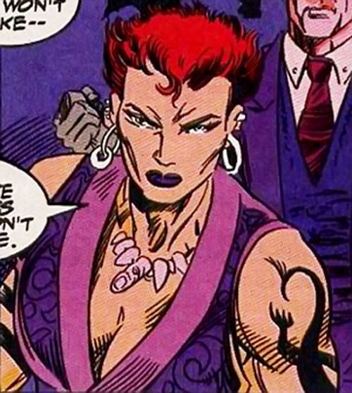 Amy Chen (Silver Sable ally) (Marvel Comics) in her civvies with a fingers necklace