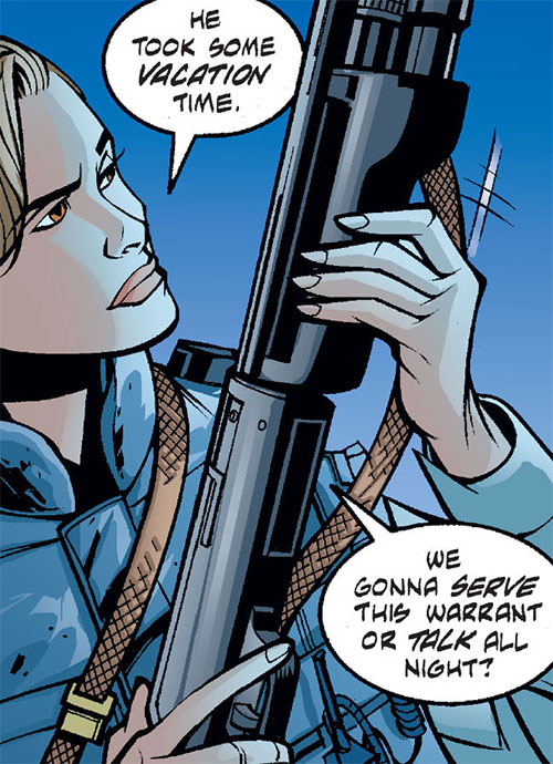 Amy Rohrbach (Nightwing character) (DC Comics) inspecting a shotgun