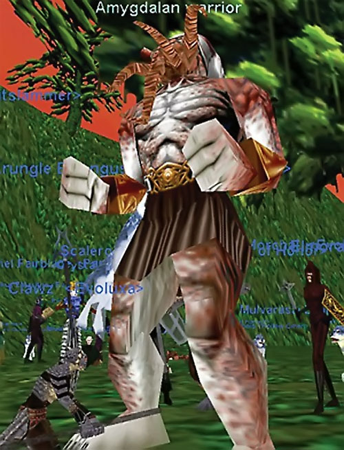 Amygdalan Warrior (Everquest) attacked by adventurers on the Plane of Fear