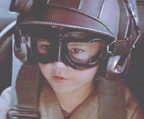 Anakin Skywalker (Jake Lloyd in Star Wars episode 1) with helmet and goggles