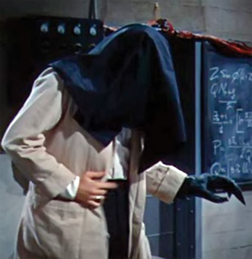 The Fly (Al Hedison in the original movie) with his head hidden under a black cloth