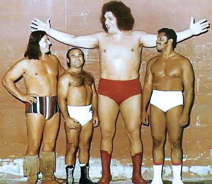 Andre the Giant and other, smaller period wrestlers