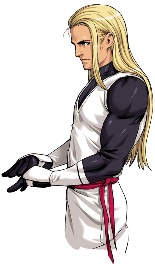 Andy Bogard (Fatal Fury / King of Fighters) adjusting his handguards