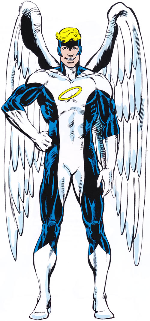Angel (X-Men) (Marvel Comics) classic costume (blue and white with halo)