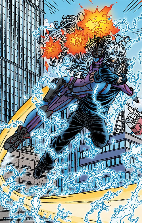 Angel One (Black Summer) (Avatar Comics) flying with Tom and shooting her pistol