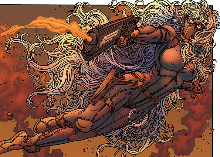 Angel-One flying with her pistol (Avatar Comics) (Black Summer)