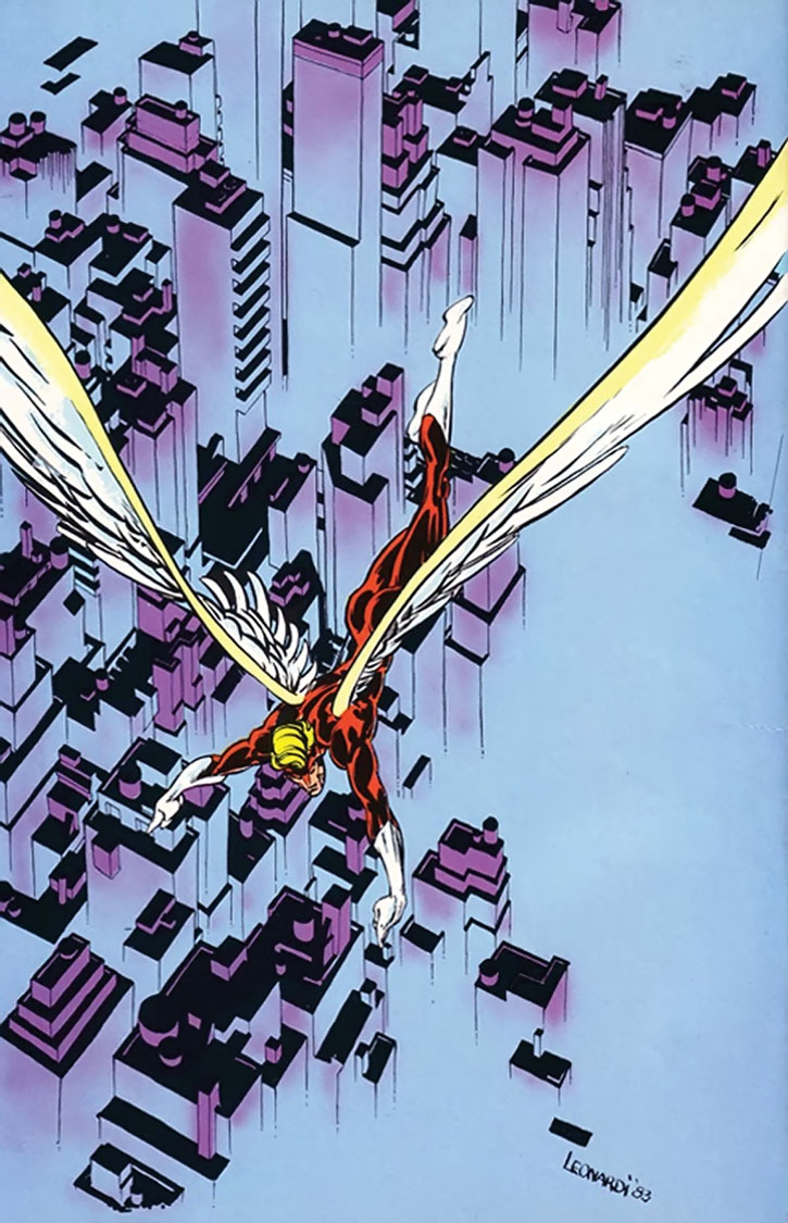 Angel flying over the city, by Rick Leonardi