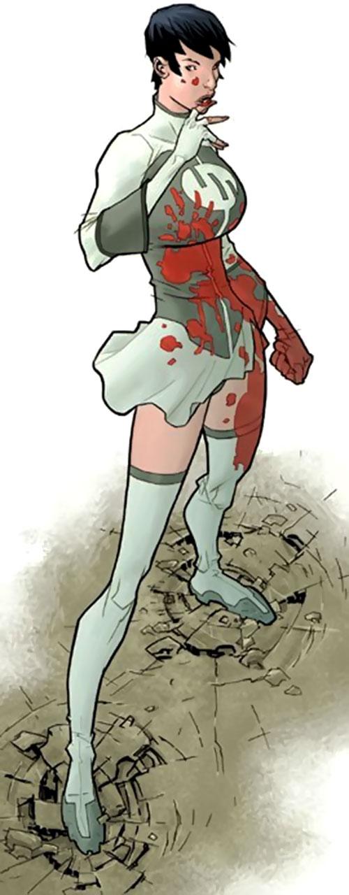 Anissa of the Viltrumites (Invincible comics) blood-splattered, skirt