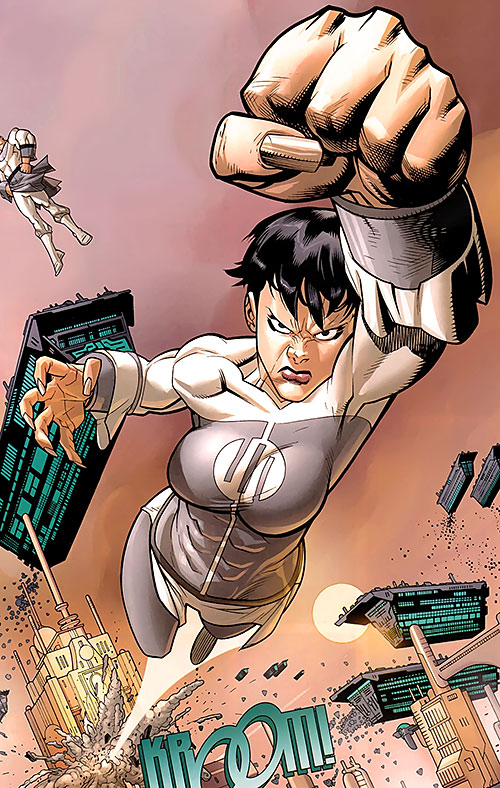 Anissa of the Viltrumites (Invincible comics) flying through a building fist first