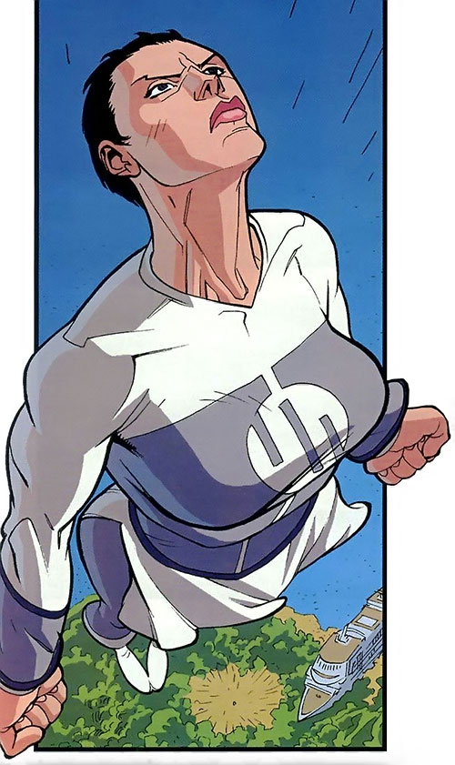 Anissa of the Viltrumites (Invincible comics) flying up