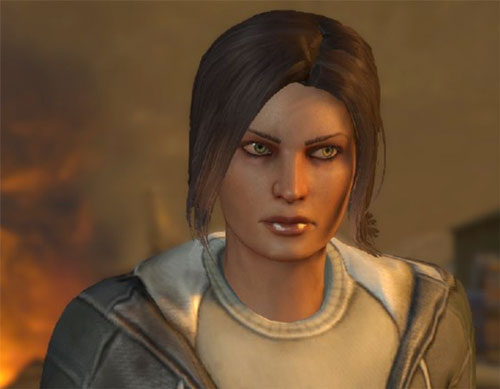 Annette Durand (XCom Enemy Within) face closeup with civilian clothing