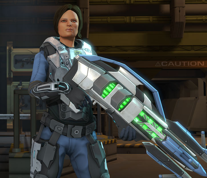 Annette Durand (XCom Enemy Within) with a heavy plasma gun