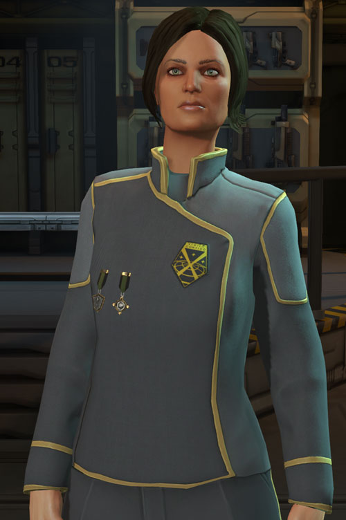 Annette Durand (XCom Enemy Within) in her gray uniform