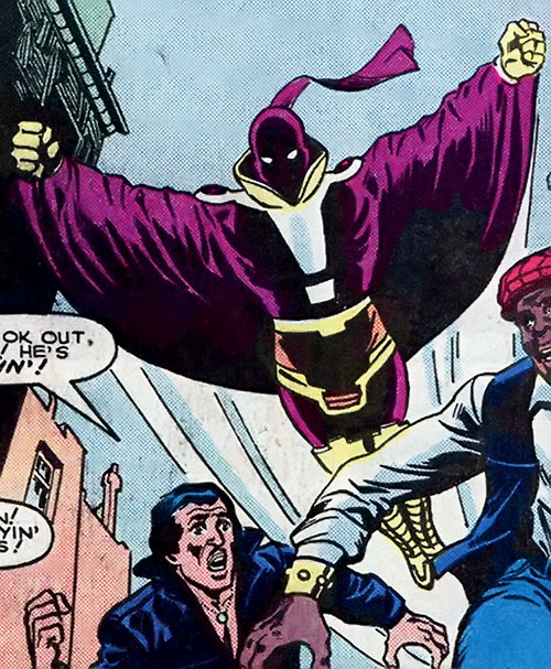 The Answer (Marvel Comics) flying over running thugs