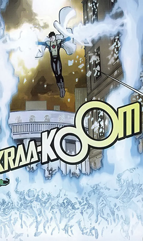 Anthem of the Order (Marvel Comics) (Matt Fraction) electrocuting a crowd