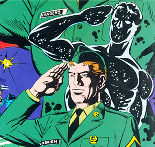 Antibody of DP7 (New Universe Marvel Comics) in an Army dress uniform