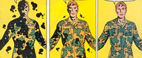 Antibody of DP7 (New Universe Marvel Comics) using his powers while in uniform
