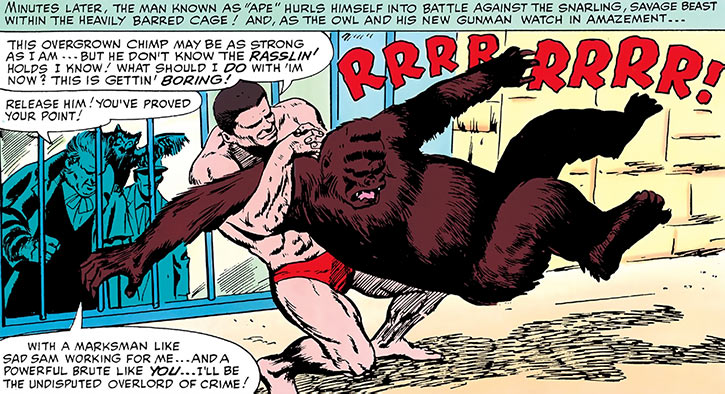 Ape Horgon (Marvel Comics) (Early Daredevil villain) wrestling an ape