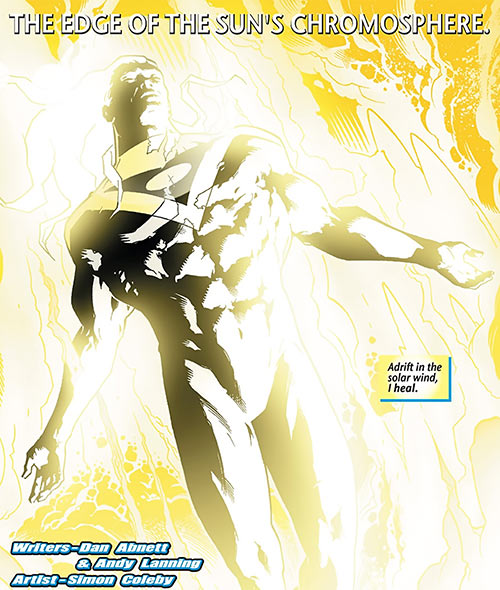 Apollo of the Authority (Wildstorm Comics) bathing into the Sun