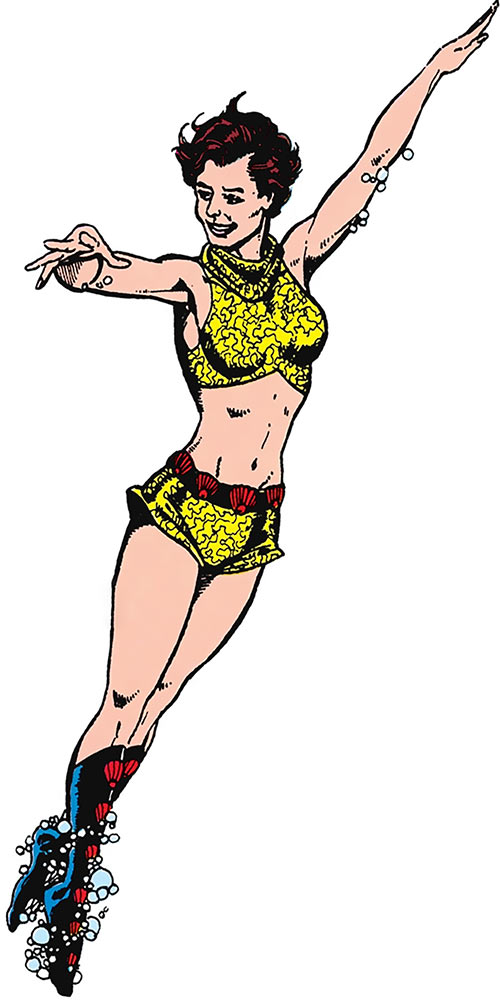 Aquagirl (Tula) (DC Comics) swimming over a white background