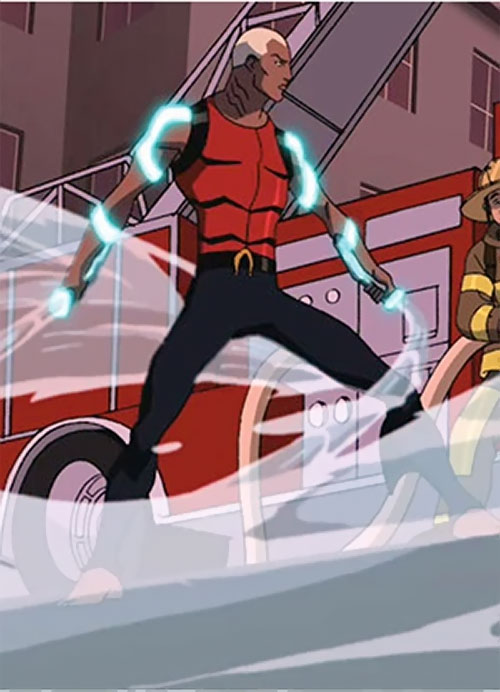 Aqualad from the Young Justice cartoon and a fire-fighting truck