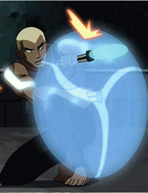 Aqualad from the Young Justice cartoon using a water shield