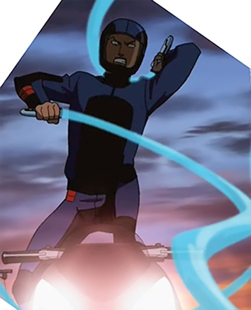Aqualad from the Young Justice cartoon with water whips atop a motorcycle