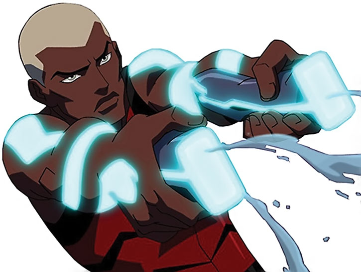 Aqualad using his weapons