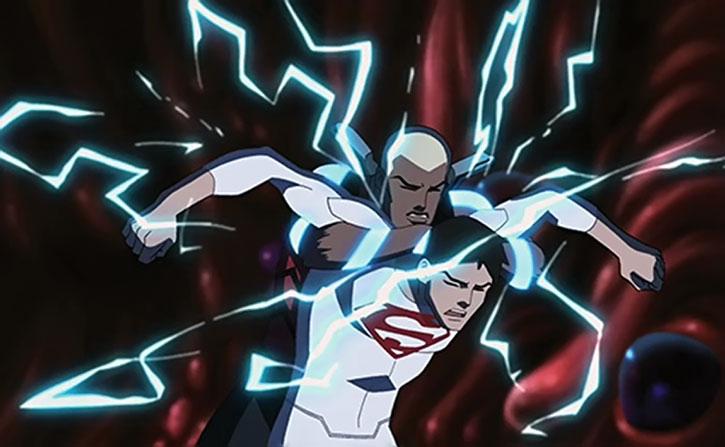Aqualad wrestles Superboy