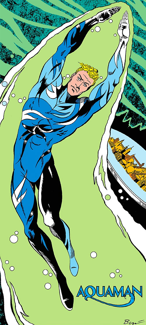 Aquaman (DC Comics) late 1980s undersea camouflage suit in the Who's Who, Steve Bove