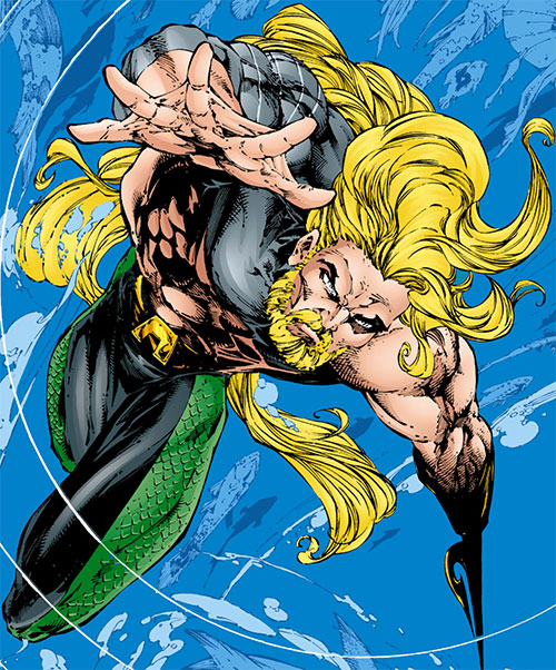 Aquaman with beard, long hair and harpoon hand