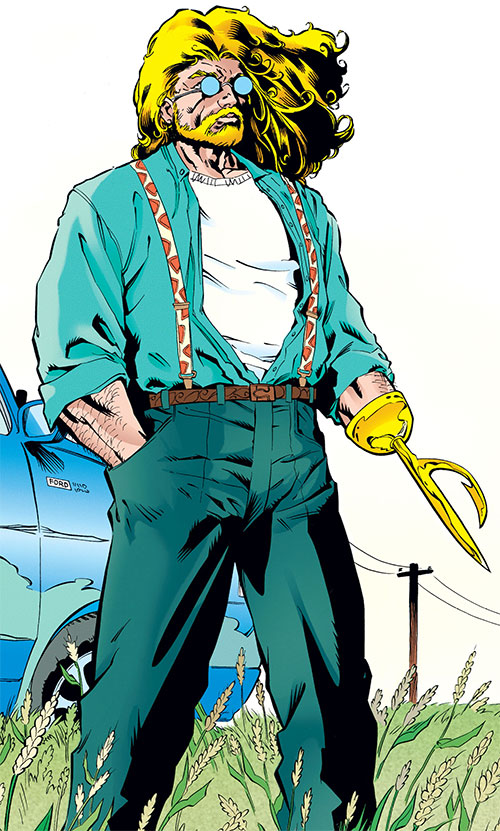 Aquaman with the harpoon hand in American civvies