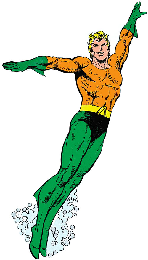 Classic Aquaman (DC Comics) art on a white background