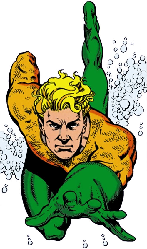 Aquaman swimming and smiling in the green and orange costume