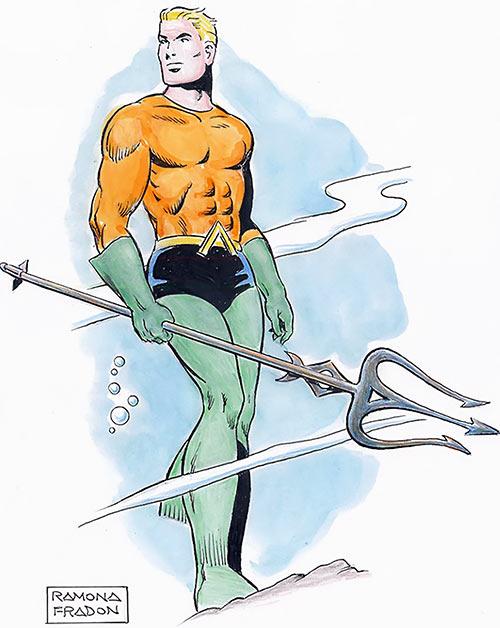 An Aquaman (DC Comics) colour sketch by Ramona Fradon