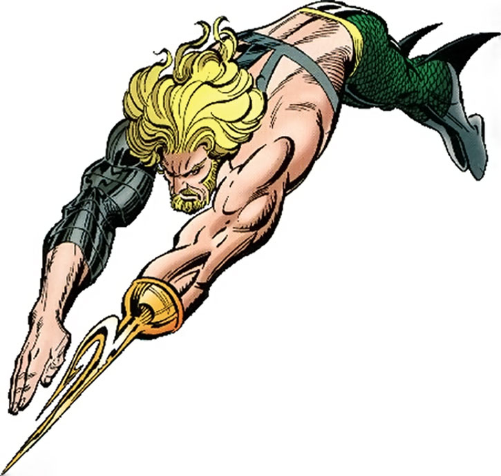 Aquaman swimming with harpoon hand