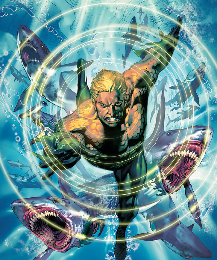 Aquaman (DC Comics) leading sharks with his telepathy - Art by Ivan Reiss