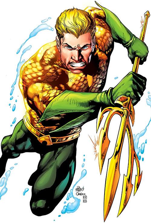Aquaman (DC Comics) trident attack - Art by Ivan Reiss