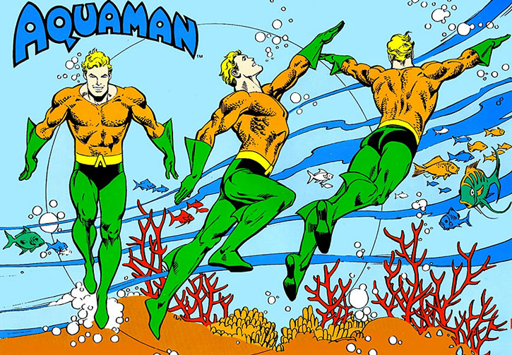 1980s Aquaman model sheet and coloring guide