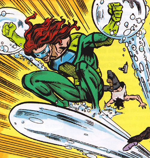 Aqueduct (Marvel Comics villain) surfing on a water jet