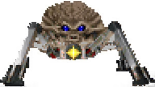 Arachnotron in the Doom video game, shooting