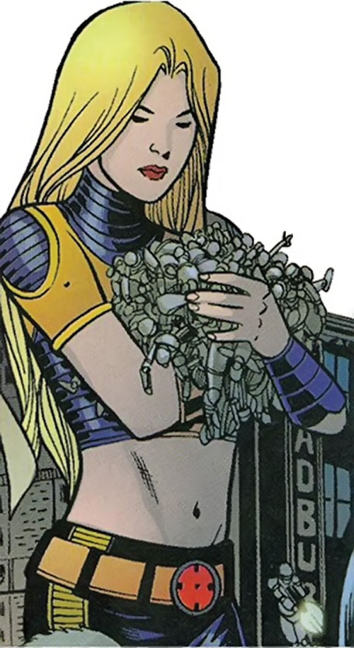 Aralune of the Order (Marvel Comics) (Matt Fraction) as a giant, carrying robots