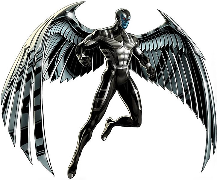 Archangel with the metal wings and black X-Force costume
