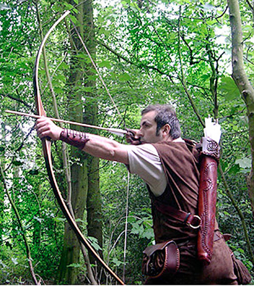 Robin Hood style archery in a forest