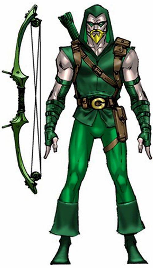 Green Arrow model sheet with bow
